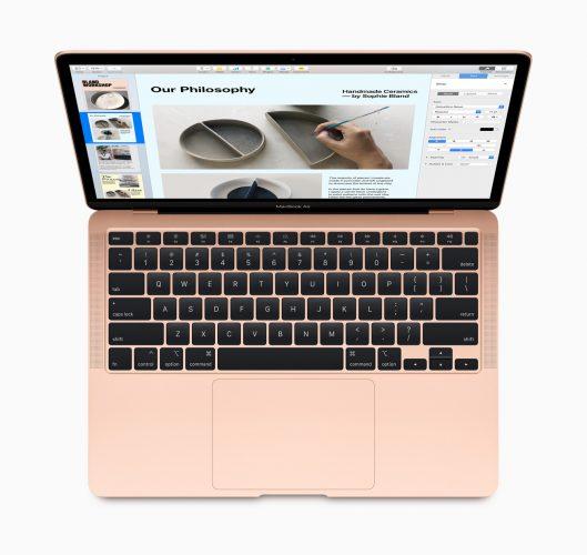 Теперь MacBook Air оснащён новой клавиатурой Magic Keyboard с улучшенным механизмом «ножницы». Клавиши с ходом 1 мм обеспечивают комфортную и эргономичную печать.